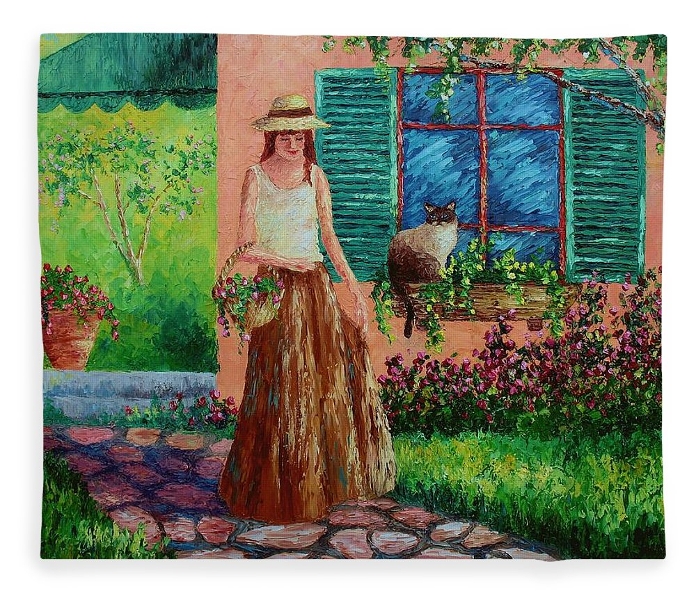 Woman Fleece Blanket featuring the painting Peaceful Thoughts by David G Paul