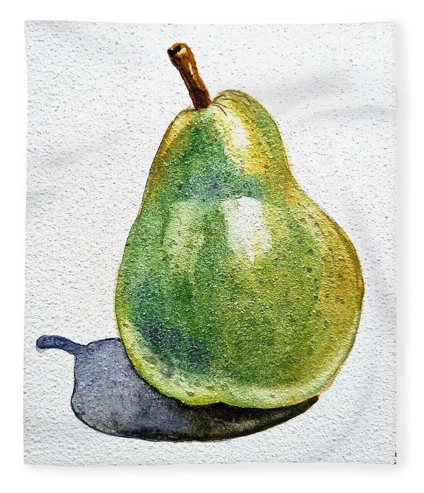 Pear Fleece Blanket featuring the painting Pear by Irina Sztukowski