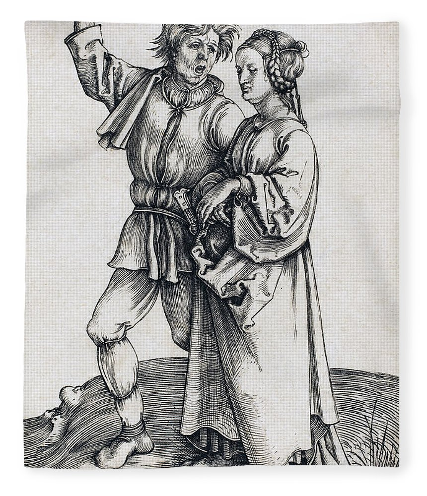 Durer Fleece Blanket featuring the drawing Peasant And His Wife by Albrecht Durer