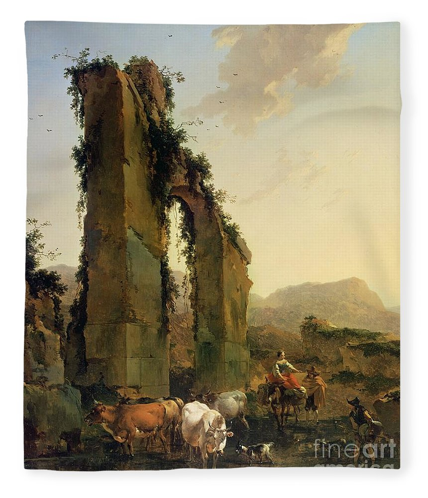Peasants Fleece Blanket featuring the painting Peasants With Cattle By A Ruined Aqueduct by Nicolaes Pietersz Berchem