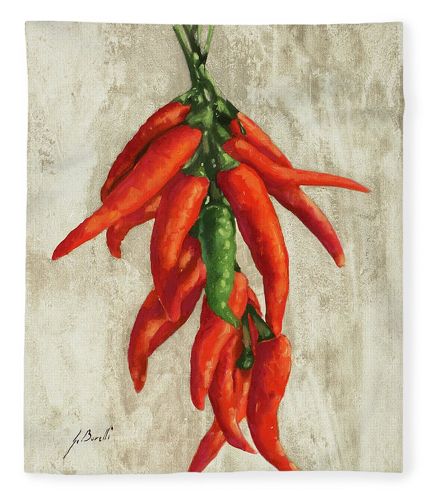 Pepper Fleece Blanket featuring the painting Peperoncini by Guido Borelli