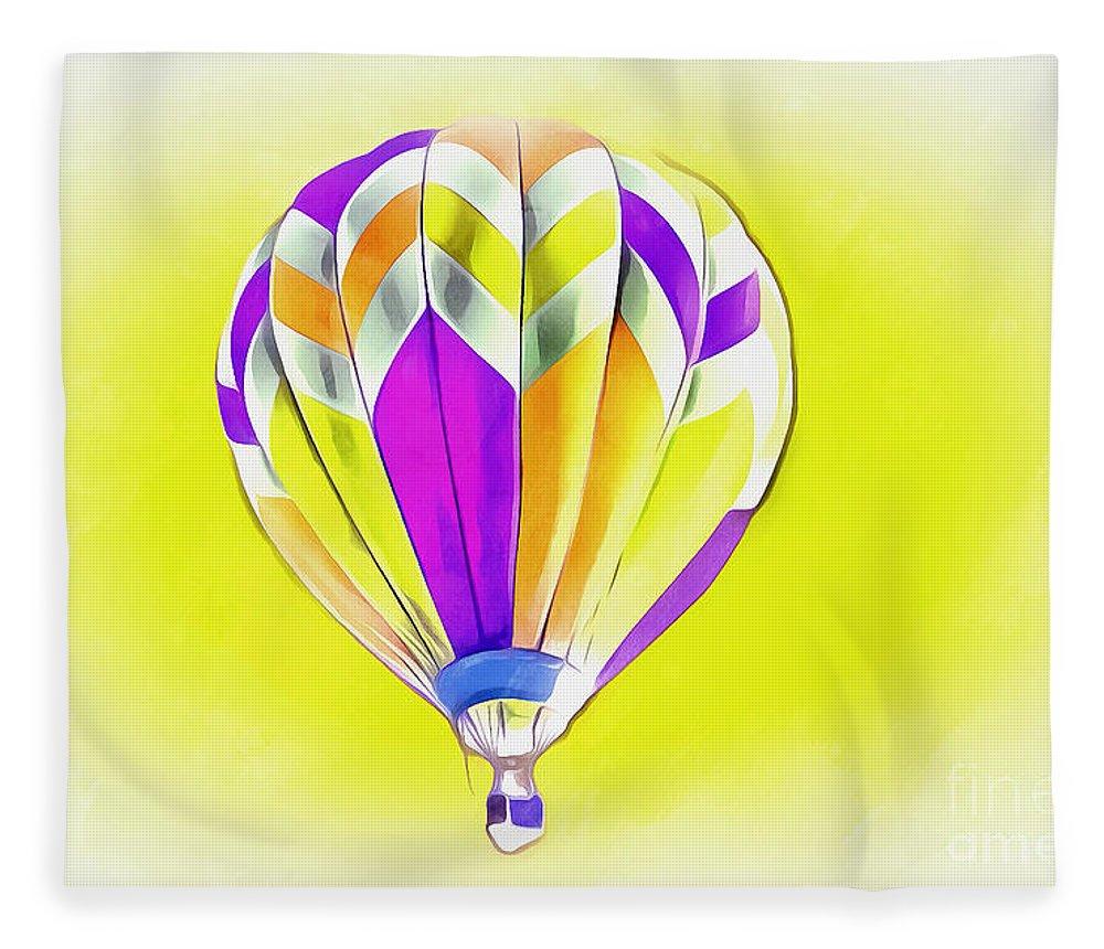 Hot Air Balloon Fleece Blanket featuring the digital art Perfect Day by Krissy Katsimbras