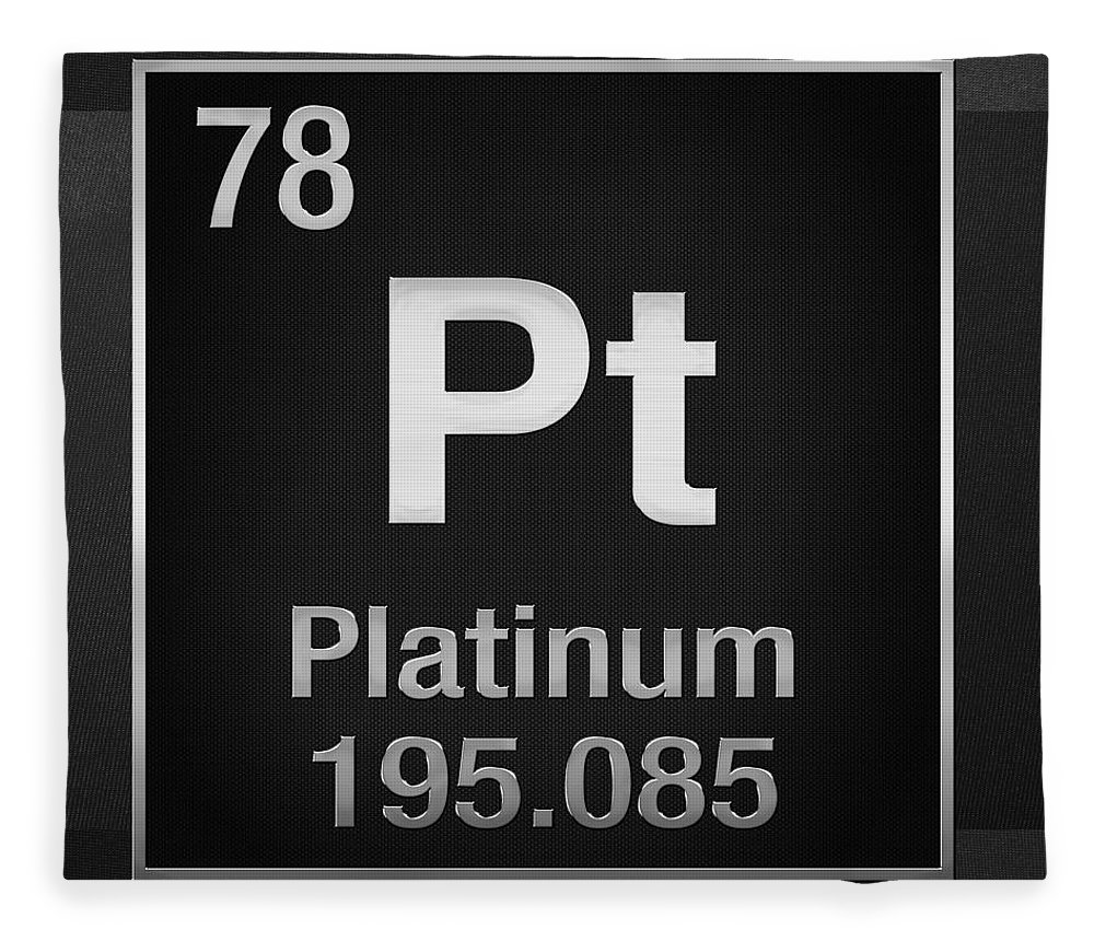 Periodic table of elements platinum pt platinum on black the elements collection by serge averbukh chemistry fleece blanket featuring the digital art periodic urtaz Image collections