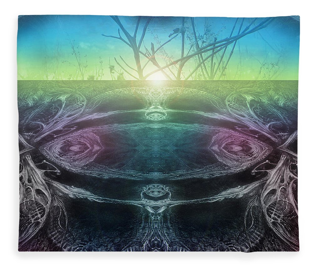 Digital Fleece Blanket featuring the digital art Perpetual Motion Landscape by Otto Rapp
