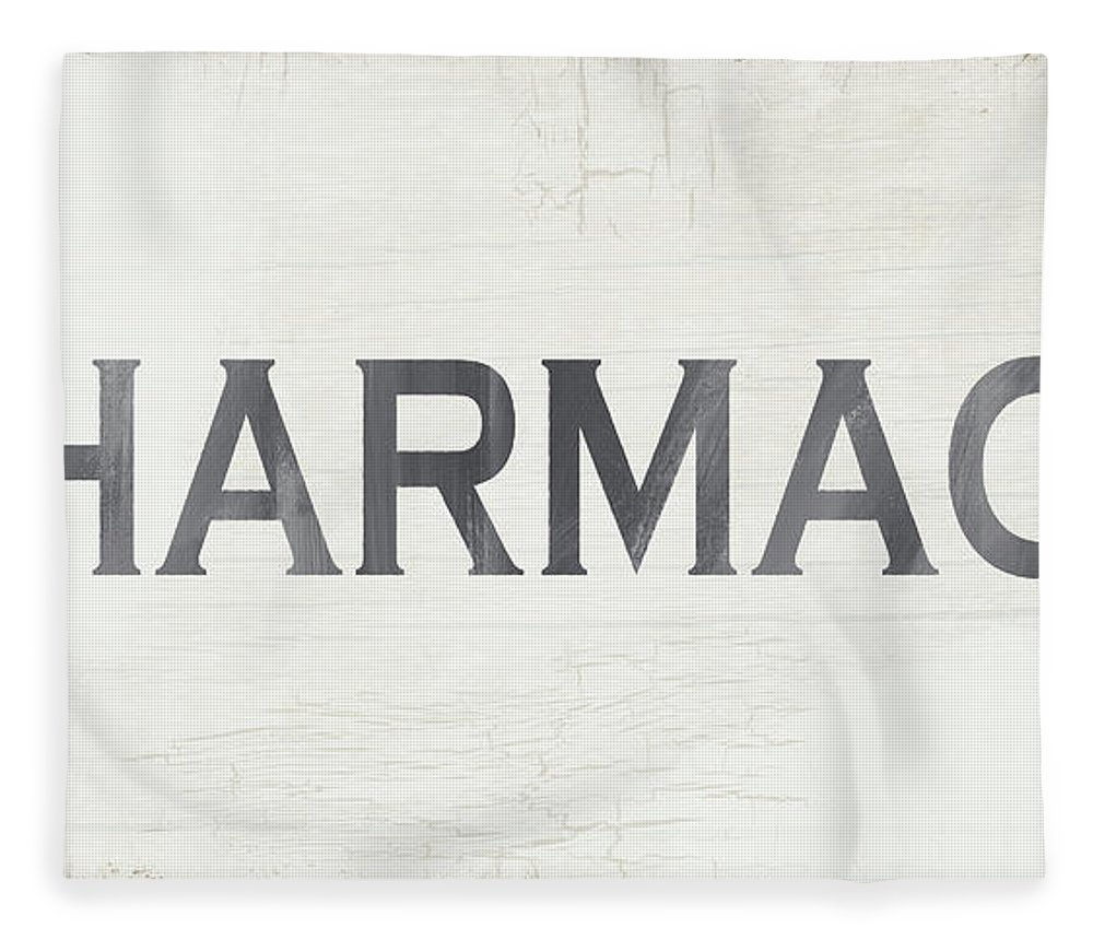 Modern Farmhouse Fleece Blanket featuring the mixed media Pharmacy Sign- Art By Linda Woods by Linda Woods