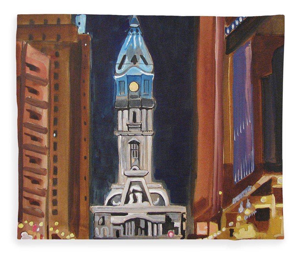 Landmarks Fleece Blanket featuring the painting Philadelphia City Hall by Patricia Arroyo