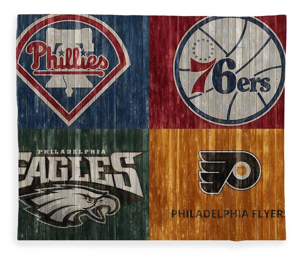 Philadelphia Sports Teams Fleece Blanket featuring the mixed media Philadelphia Sports Teams by Dan Sproul
