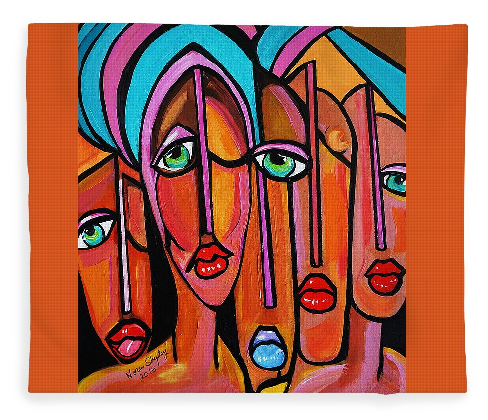 Picasso By Nora Four Eyes Fleece Blanket featuring the painting Picasso By Nora Four Eyes by Nora Shepley