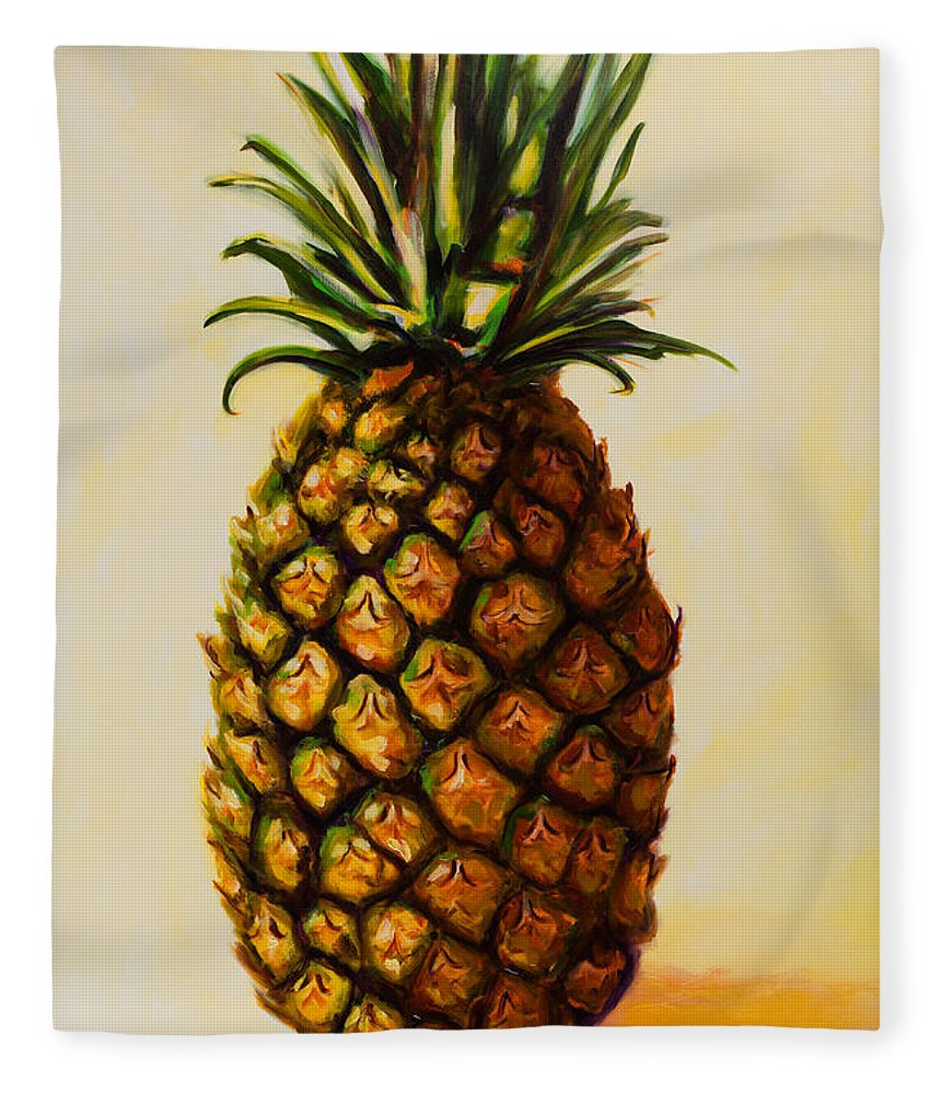 Pineapple Fleece Blanket featuring the painting Pineapple Angel by Shannon Grissom