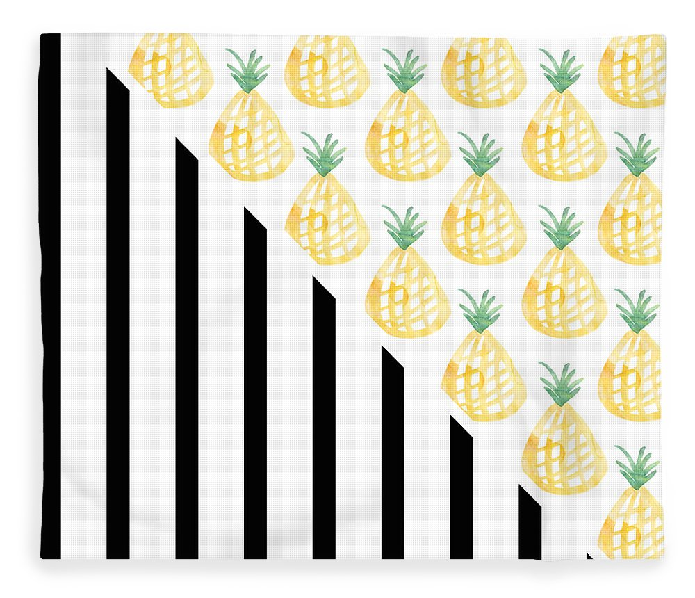 Pineapple Fleece Blanket featuring the mixed media Pineapples and Stripes by Linda Woods