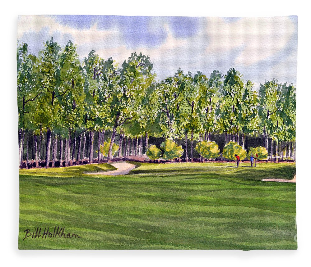 Golf Fleece Blanket featuring the painting Pinehurst Golf Course 17th Hole by Bill Holkham