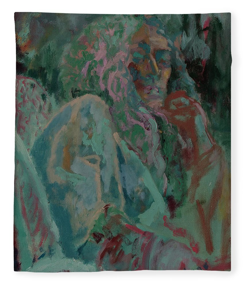 Portrait Fleece Blanket featuring the painting Pink And Green Portrait by Lynne Guess