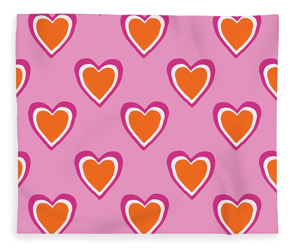 Hearts Fleece Blanket featuring the mixed media Pink And Orange Hearts- Art by Linda Woods by Linda Woods