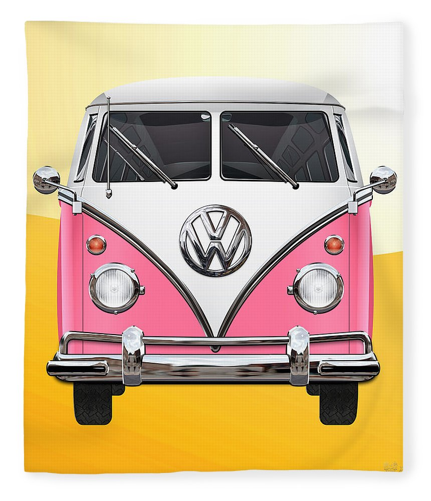 'volkswagen Type 2' Collection By Serge Averbukh Fleece Blanket featuring the photograph Pink And White Volkswagen T 1 Samba Bus On Yellow by Serge Averbukh