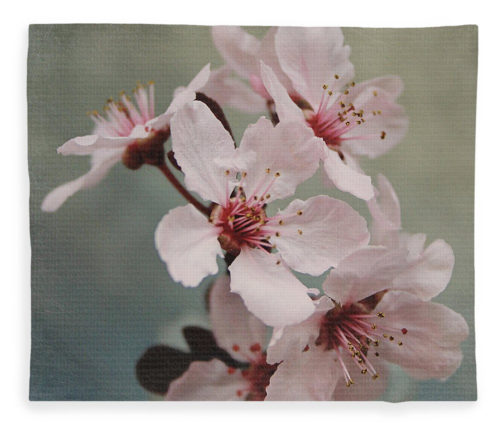 Flowers Fleece Blanket featuring the mixed media Pink Blossoms 2- Art By Linda Woods by Linda Woods