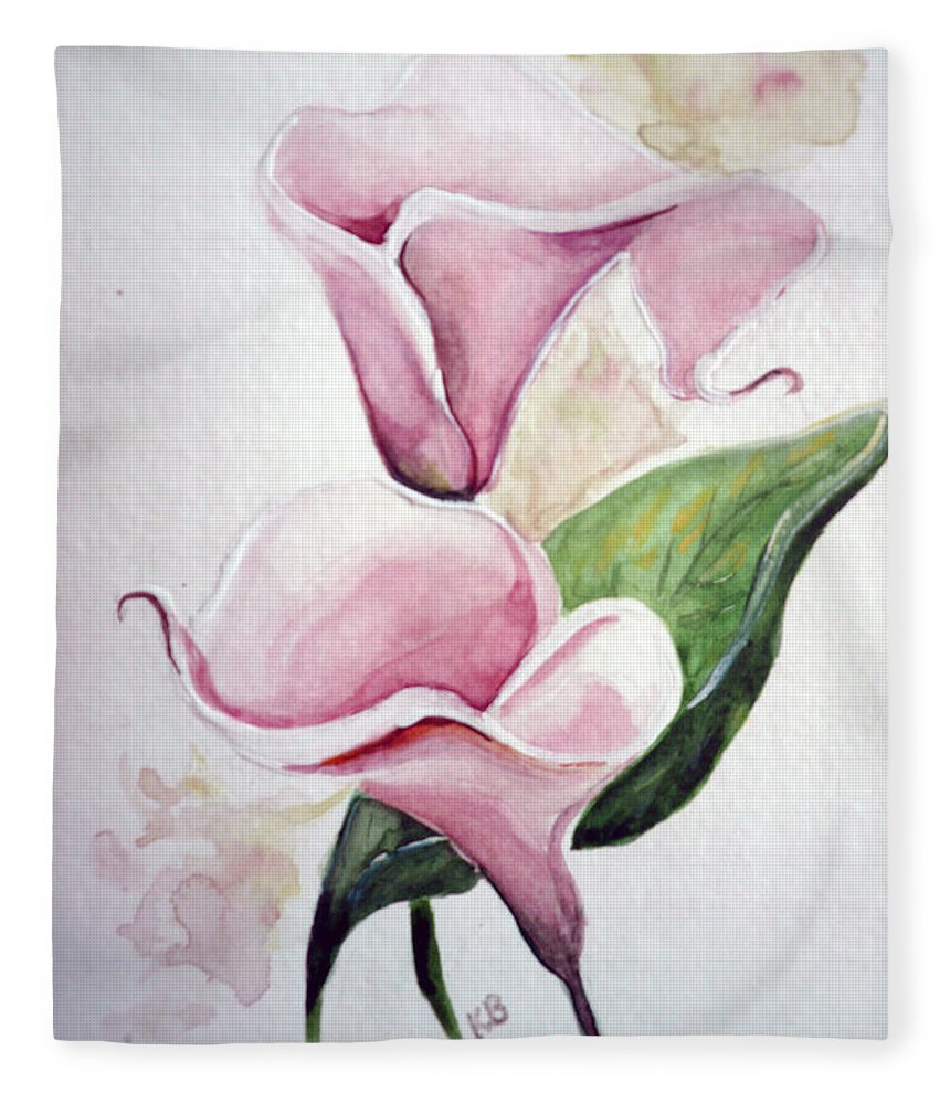 Botanical Painting Pink Paintings Calla Paintings Lily Paintings Flower Paintings Floral Paintings Flora Pink Flower Lily Fleece Blanket featuring the painting Pink Callas by Karin Dawn Kelshall- Best