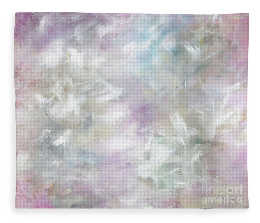 Pink Fleece Blanket featuring the painting Pink Cloud by Nadine Rippelmeyer