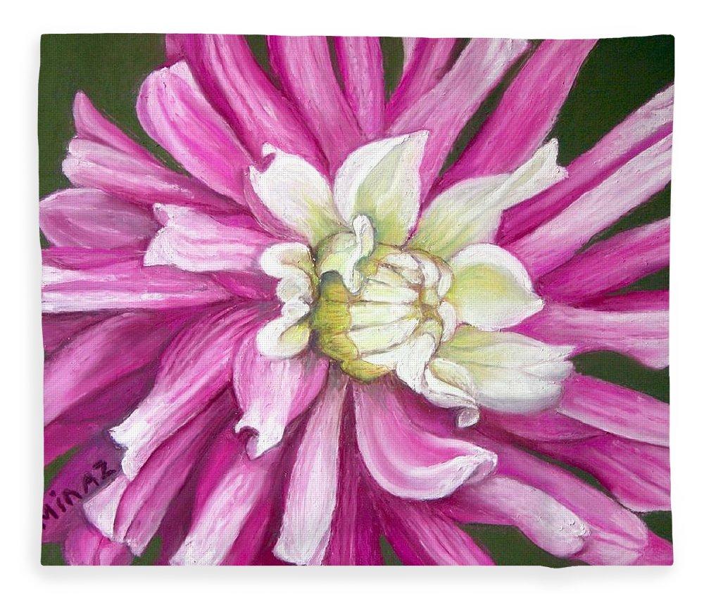 Floral Fleece Blanket featuring the painting Pink Petal Blast by Minaz Jantz