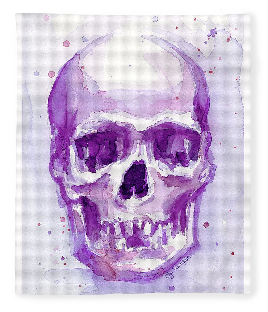 Purple Fleece Blanket featuring the painting Pink Purple Skull by Olga Shvartsur