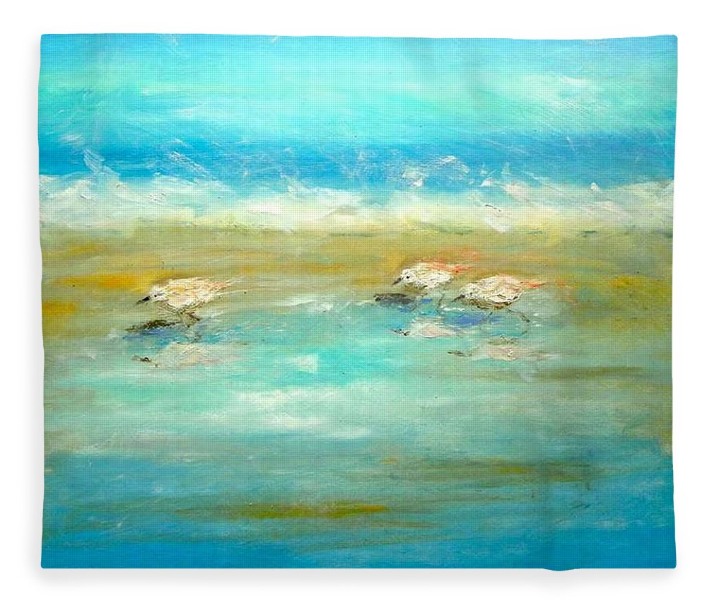 Pipers Fleece Blanket featuring the painting Pipers by Paul Emig