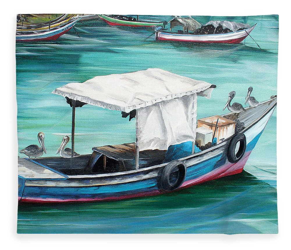 Fishing Boat Painting Seascape Ocean Painting Pelican Painting Boat Painting Caribbean Painting Pirogue Oil Fishing Boat Trinidad And Tobago Fleece Blanket featuring the painting Pirogue Fishing Boat by Karin Dawn Kelshall- Best