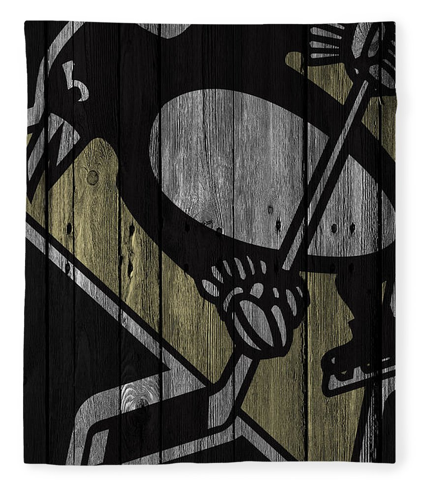 Penguins Fleece Blanket featuring the digital art Pittsburgh Penguins Wood Fence by Joe Hamilton