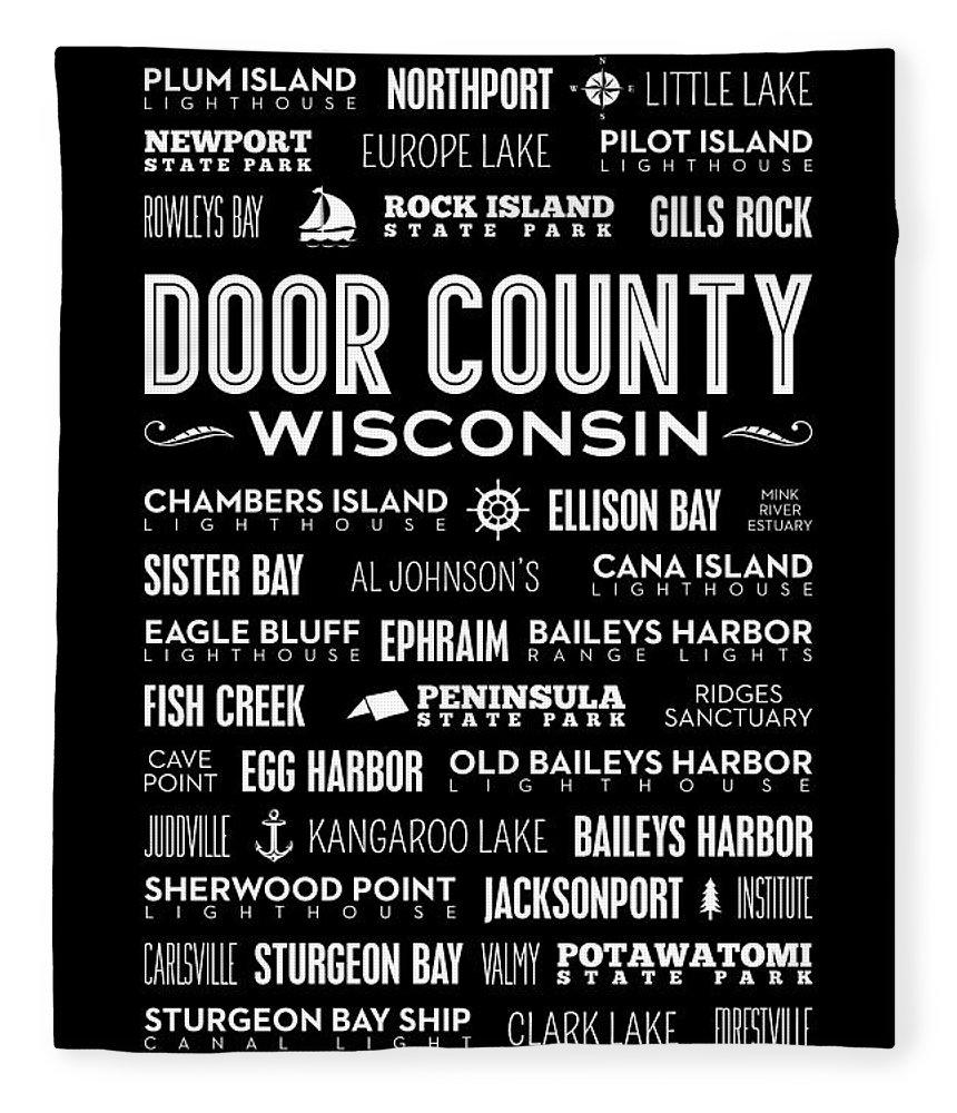Door County Fleece Blanket featuring the digital art Places Of Door County On Black by Christopher Arndt