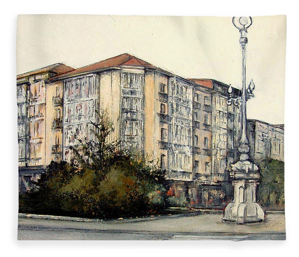 Plaza Numancia Fleece Blanket featuring the painting Plaza Numancia-Santander by Tomas Castano