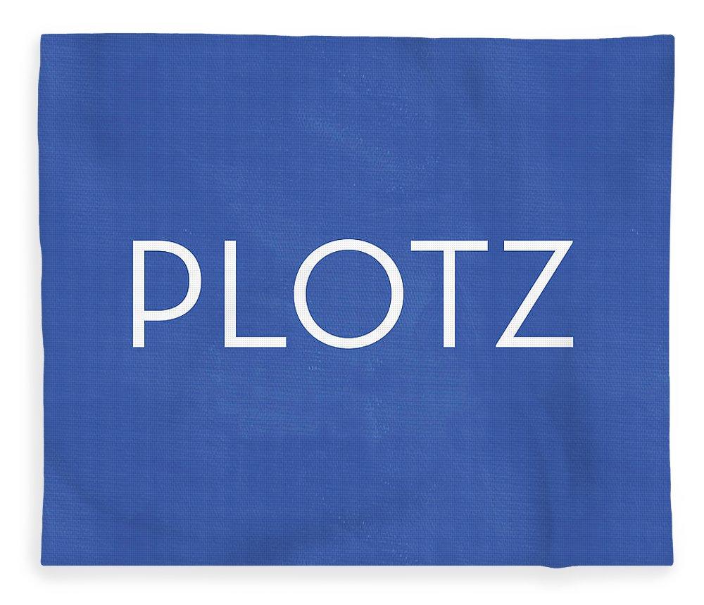 Plotz Fleece Blanket featuring the mixed media Plotz- Art by Linda Woods by Linda Woods