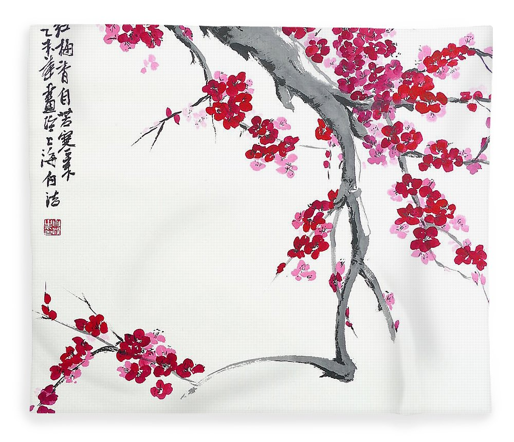 Blossom Fleece Blanket featuring the painting Plum Blossom - Spring Is Coming by Birgit Moldenhauer