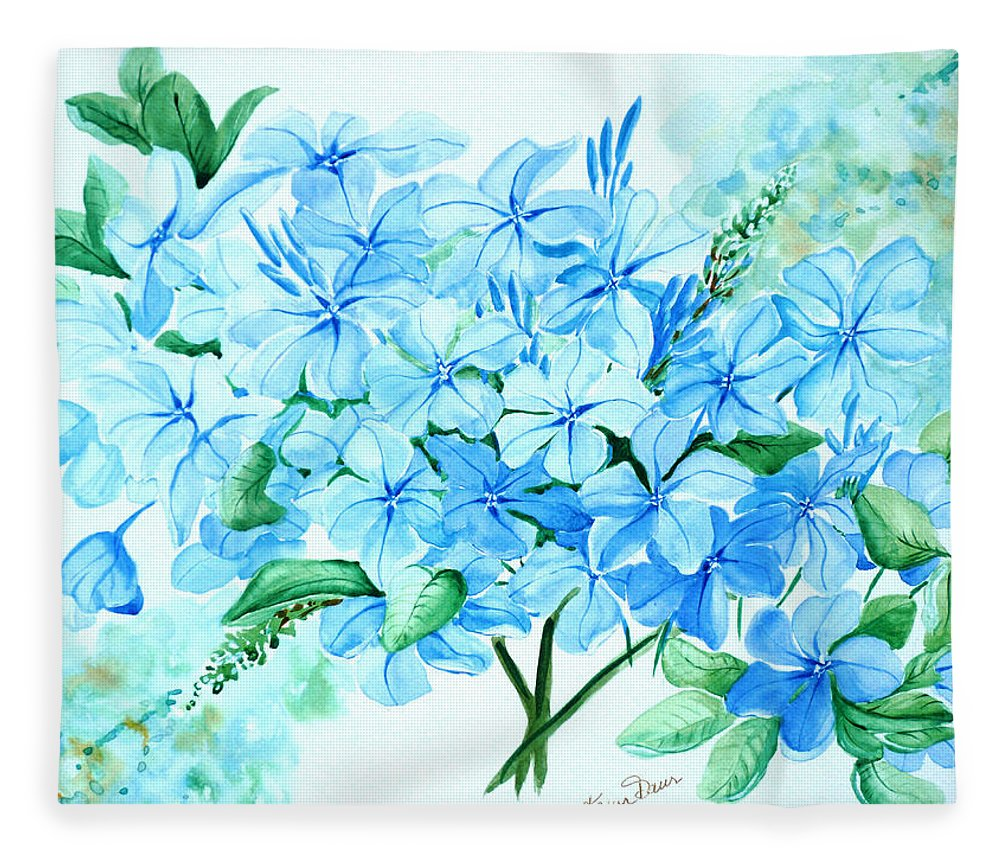 Floral Blue Painting Plumbago Painting Flower Painting Botanical Painting Bloom Blue Painting Fleece Blanket featuring the painting Plumbago by Karin Dawn Kelshall- Best