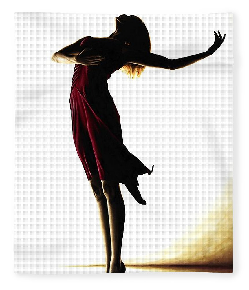 Ballet Fleece Blanket featuring the painting Poise In Silhouette by Richard Young