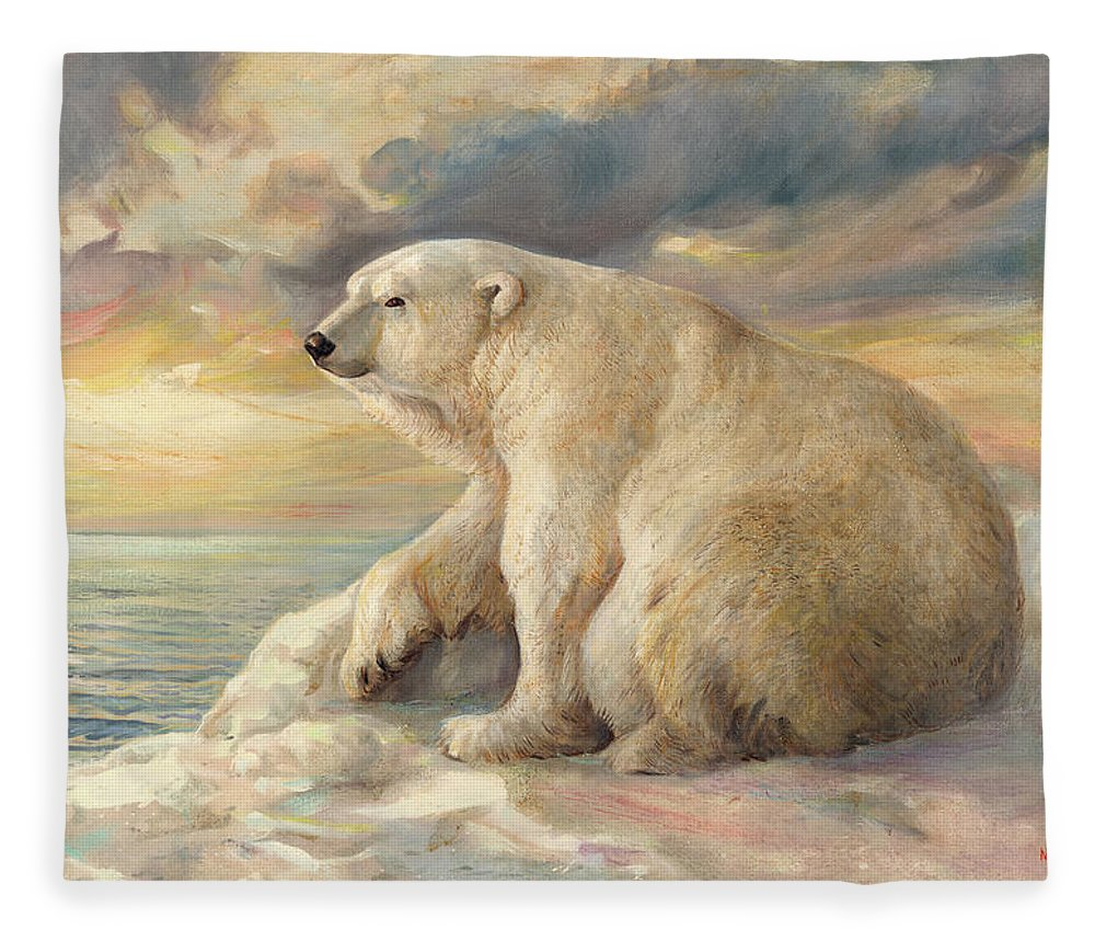 Polar Bear Fleece Blanket featuring the painting Polar Bear Rests On The Ice - Arctic Alaska by Svitozar Nenyuk