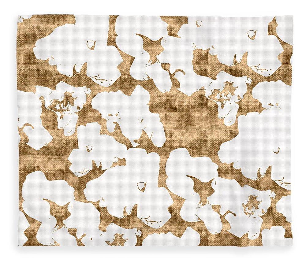 Popcorn Fleece Blanket featuring the mixed media Popcorn- Art by Linda Woods by Linda Woods