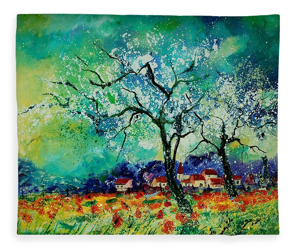 Landscape Fleece Blanket featuring the painting Poppies and appletrees in blossom by Pol Ledent