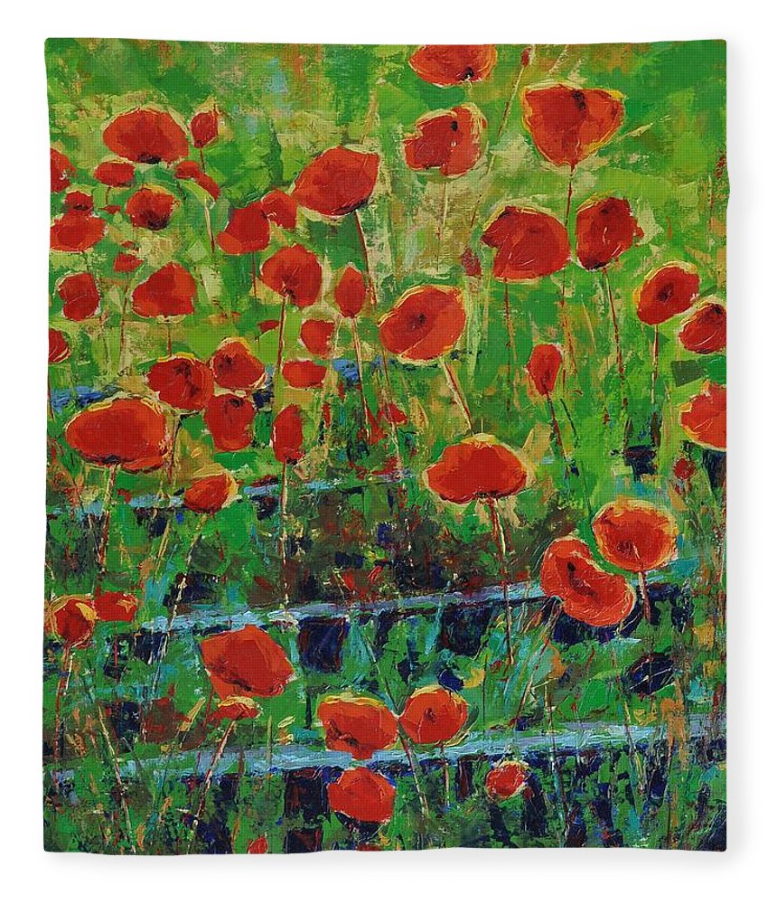Poppies Fleece Blanket featuring the painting Poppies And Traverses 1 by Iliyan Bozhanov