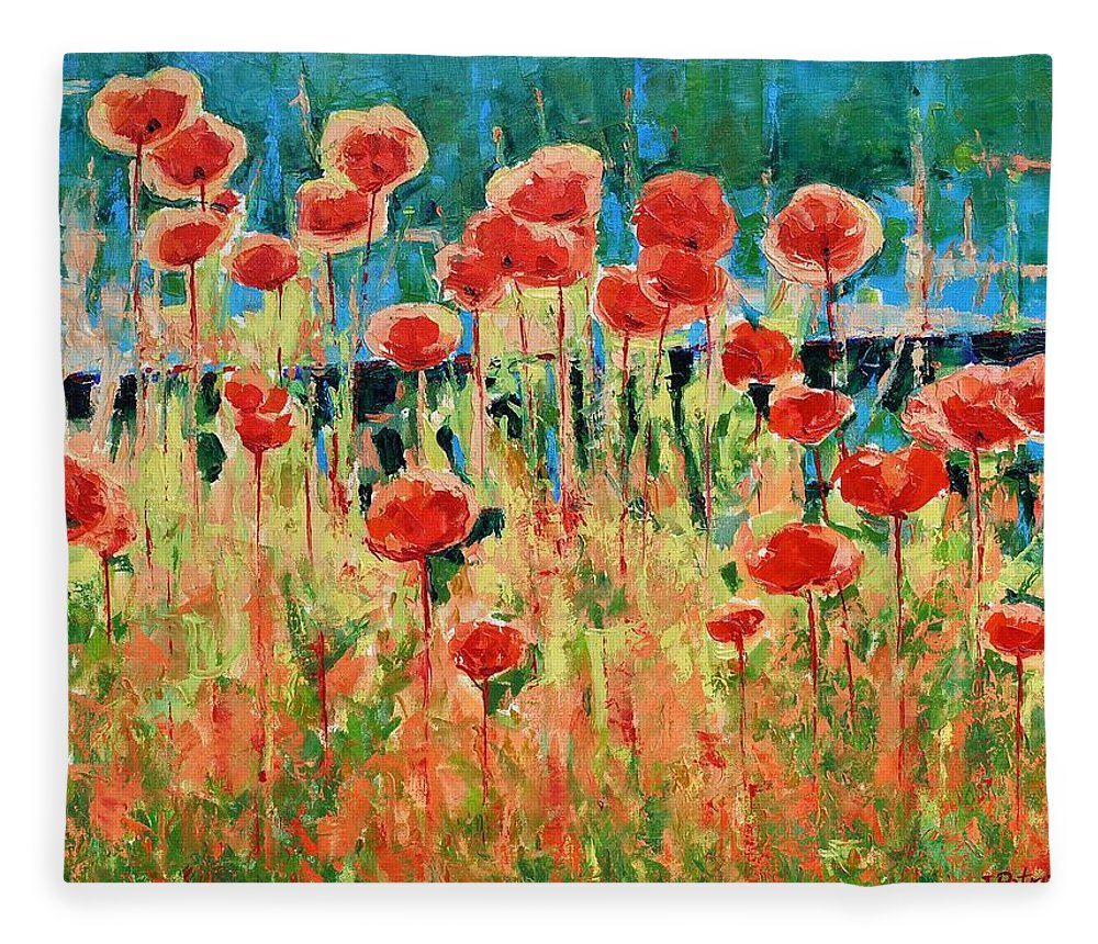 Poppies Fleece Blanket featuring the painting Poppies And Traverses 2 by Iliyan Bozhanov