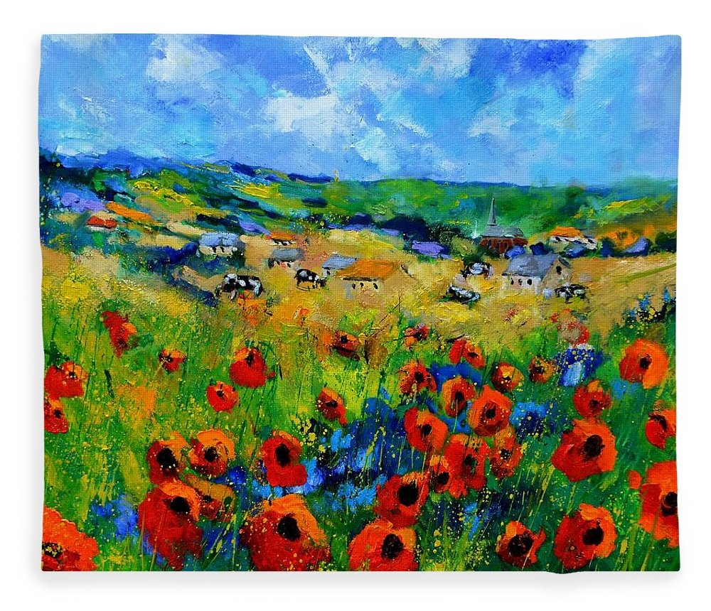 Landscape Fleece Blanket featuring the painting Poppies in Ieper by Pol Ledent