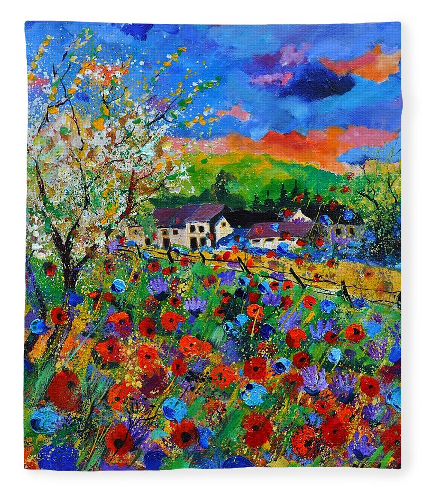 Poppies Fleece Blanket featuring the painting Poppies in Sorinnes by Pol Ledent