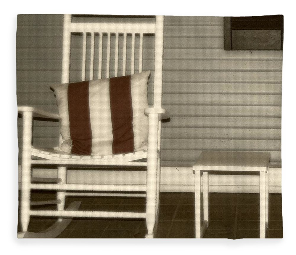 Rocking Chair Fleece Blanket featuring the photograph Porch Rocker by Debbi Granruth