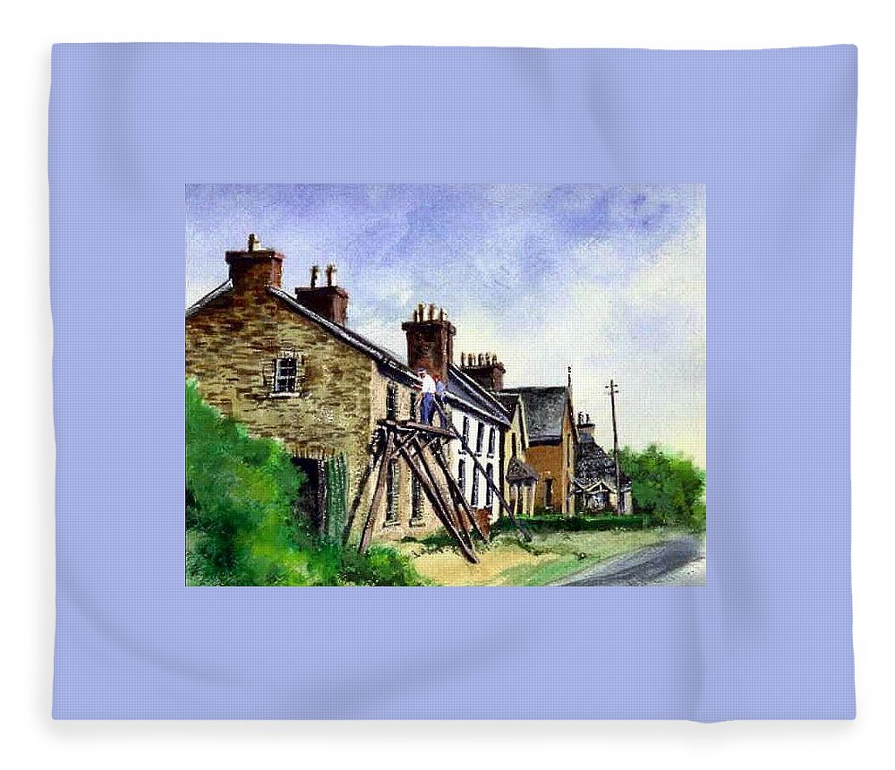 Water Color Fleece Blanket featuring the painting Port Rush Gutter Repair by Jim Gola