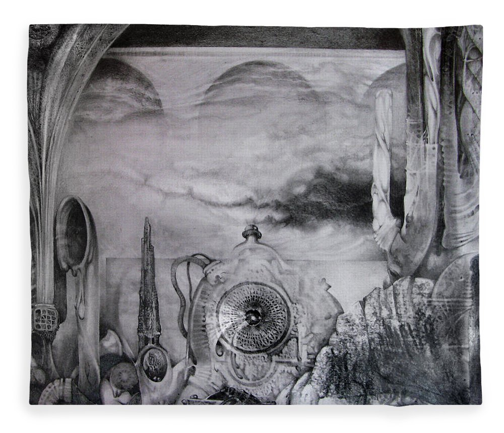 Graphite Drawing Fleece Blanket featuring the drawing Portal To Bogomils Universe Iv by Otto Rapp