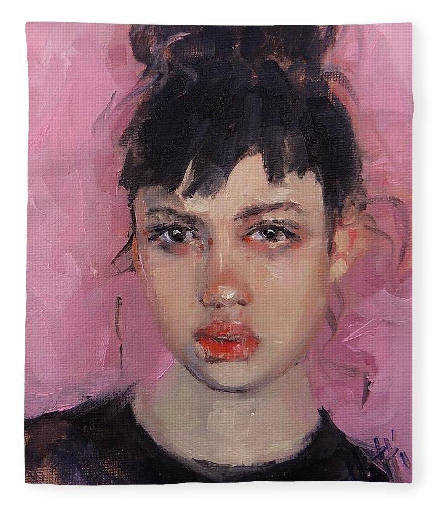 Portrait Fleece Blanket featuring the painting Portrait Demo by Laura Lee Zanghetti