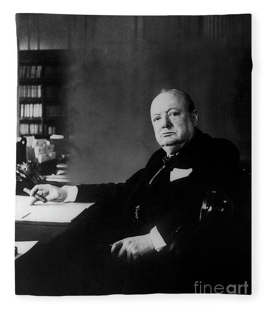 Desk Fleece Blanket featuring the photograph Portrait Of Winston Churchill by English School