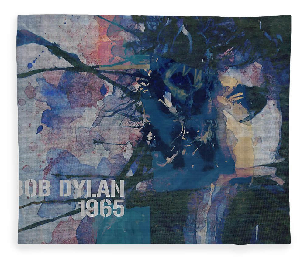 Bob Dylan Fleece Blanket featuring the painting Positively 4th Street by Paul Lovering