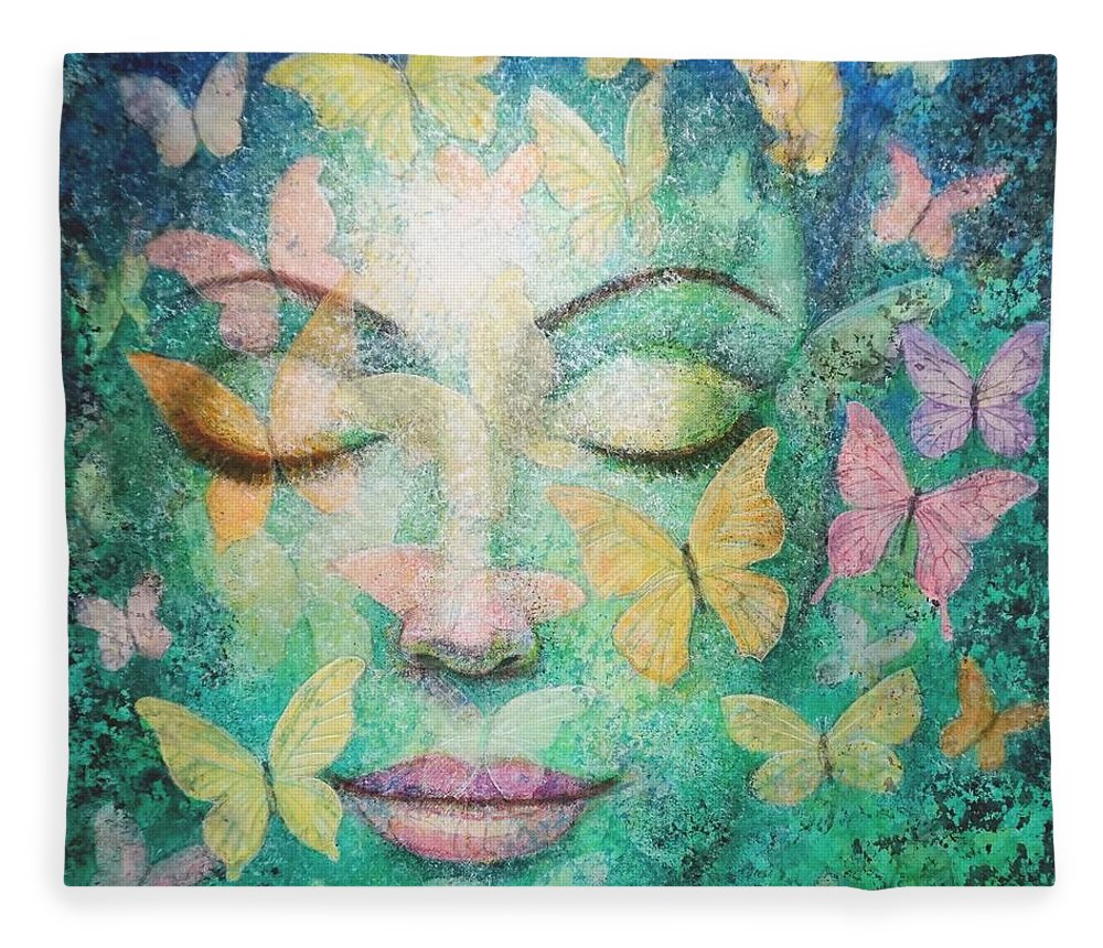 Meditation Fleece Blanket featuring the painting Possibilities Meditation by Sue Halstenberg