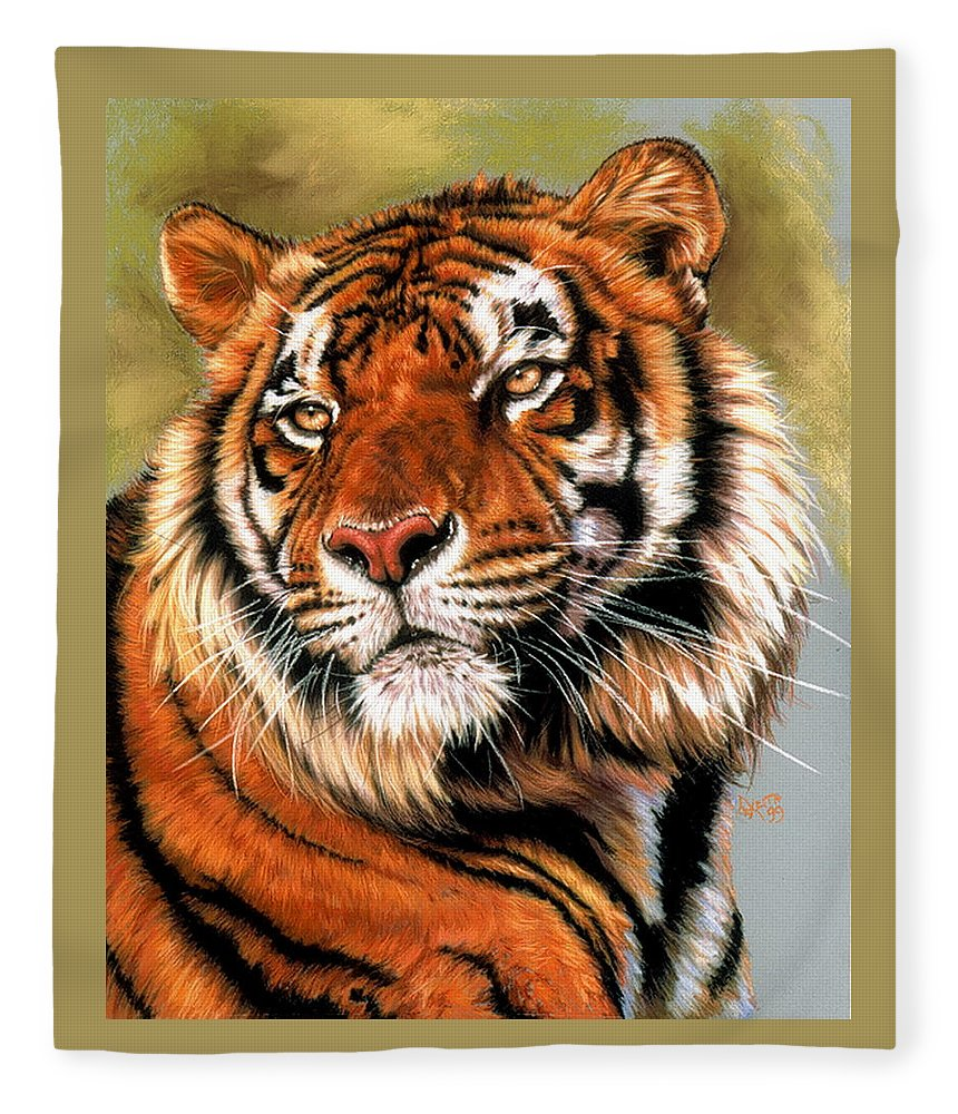 Tiger Fleece Blanket featuring the pastel Power and Grace by Barbara Keith