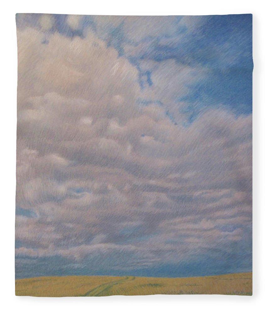 North Dakota Fleece Blanket featuring the pastel Prairie Trail by Cris Fulton