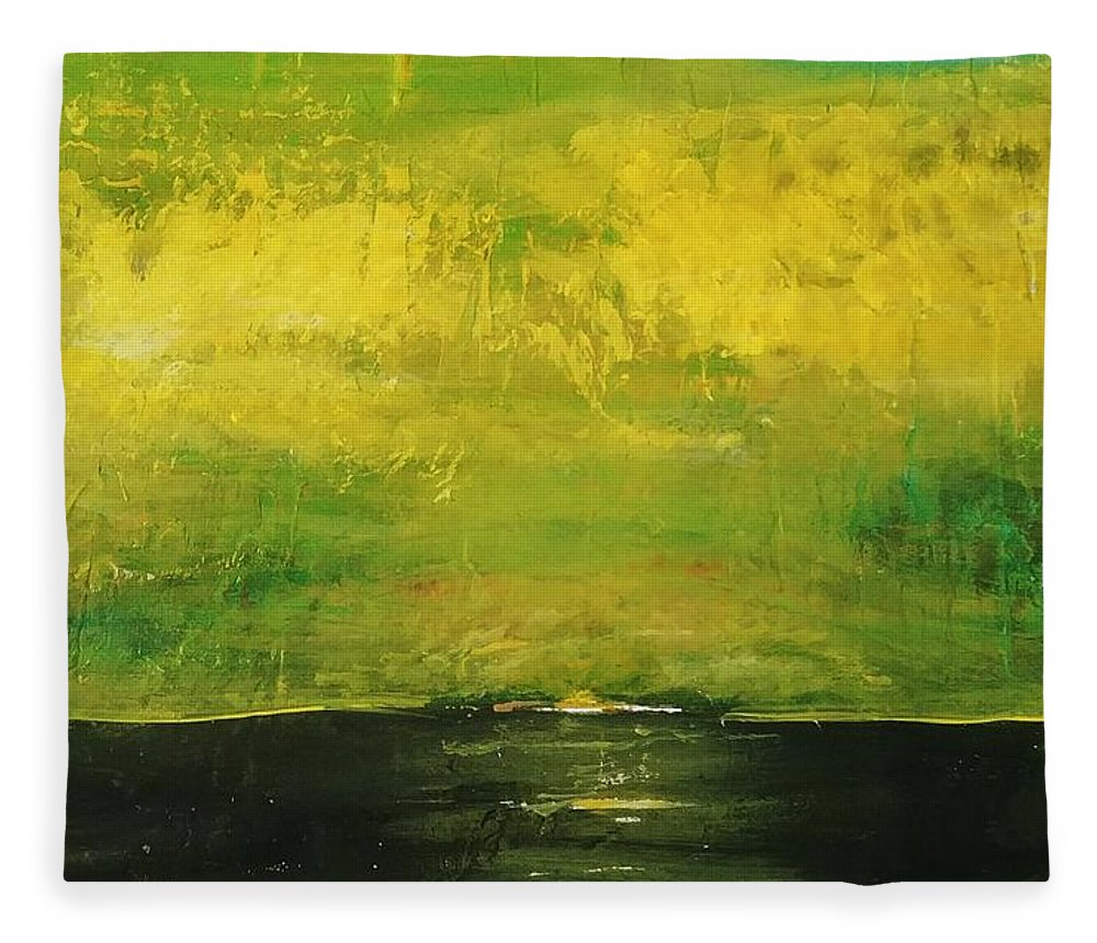 Country Fleece Blanket featuring the painting Prarie at Sunrise by J Bauer
