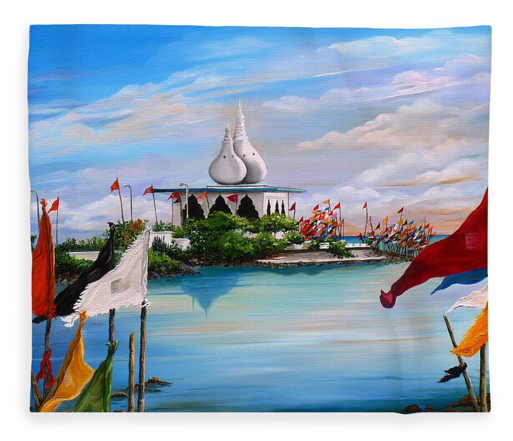 Hindu Temple Fleece Blanket featuring the painting Prayers At Waterloo by Karin Dawn Kelshall- Best